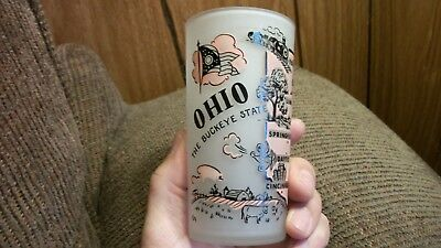 VINTAGE FROSTED SOUVENIR OHIO STATE MAP With Major Cities FREE ...
