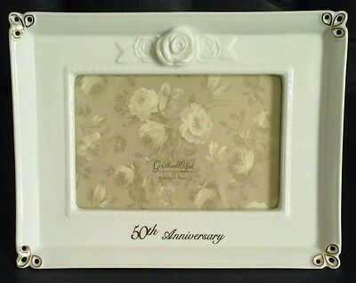 50th Anniversary Gift Picture Frame, White Porcelain w Gold Details, 4x6 Photo