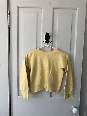 """Vintage 1950s 1960s Norwich Yellow Sweatshirt 32"""" Chest XXS Teen Cropped Pin Up"""