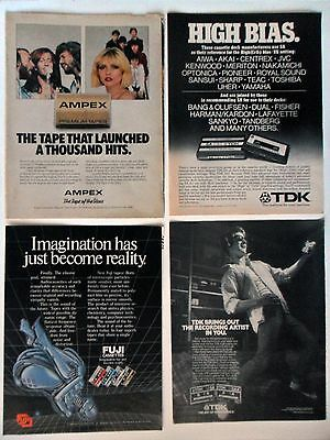 Lot #2 of 20 Different Cassette Recording Tape Magazine Print Ads ~ TDK Fuji ++