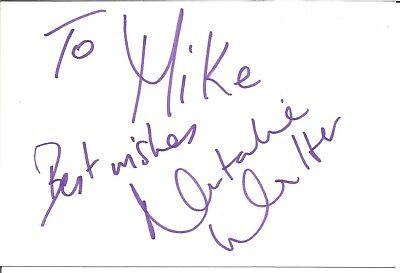 Natalie Walter actress signed white card dedicated in person autograph Z3715
