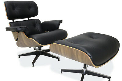 Eames Style Lounge Chair & Ottoman Reproduction Aniline Leather Black Walnut