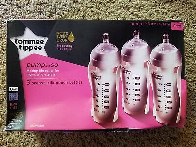 3 Pc.. Tommee Tippee Pump And Go Breast Milk Pouch Bottle