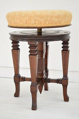 Antique Piano Stool,Charles Wadman Patent,Adjustable Height,Upholstered Seat