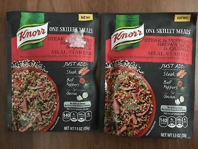 2 Knorr One Skillet Meals Steak & Peppers Brown Rice & Quinoa Meal Starter *JUNE