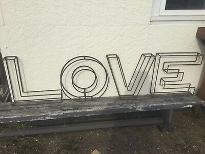LARGE WROUGHT IRON LETTERS OF LOVE FOR GARDEN ORNAMENTS  450mm x 450mm x 90mm