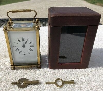 1900's Antique french Carriage Mantel Shelf Desk Clock and Case Working