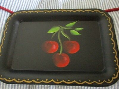 Vintage Hand Painted Red Cherries French Country Mid Century Black Tole Tray