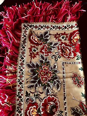 ANTIQUE RUSSIAN COTTON block roller PRINTED TEXTILE SHAWL