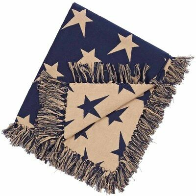 New Primitive Country Americana Tan NAVY BLUE STAR THROW Woven Afghan Blanket