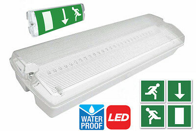 5W LED Emergency Light Bulkhead Exit Sign IP65 Maintained Or Non Maintained 3 Hr