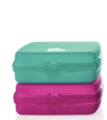 Tupperware Sandwich Keepers Pink & Teal Set Crayons, Stickers & Toys Brand New