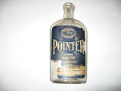 Antique Pointer Whiskey Bottle, Bottled by P J Okeefe Penna. Ave. NW Wash. DC