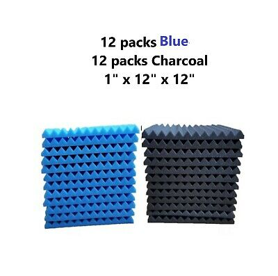 """24 Pack Acoustic Foam Panel Wedge Studio Soundproofing Wall Tiles 12"""" X 12"""" X 1"""""""