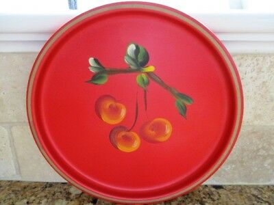 Vintage Painted Cherries French Country Kitchen Mid Century Modern Red Tole Tray