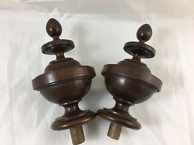 Pair of antique French hand turned wooden furniture finials wood salvaged piece
