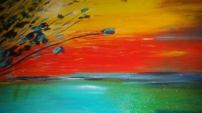 ORIGINAL Oil Painting by Luiza Vizoli Colorful, Bright, Large Landscape Abstract