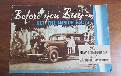 Vintage1934 Plymouth Automobile Advertising Sales  Brochure W/  Specs. & Models