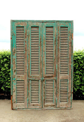 French Antique Window Shutters with Windows - Original Condition - Large - Cedar