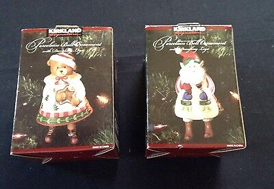 2 Kirkland Sign Porcelain Ornaments-Gingerbread Elf & Bear-with dangling leg NIB