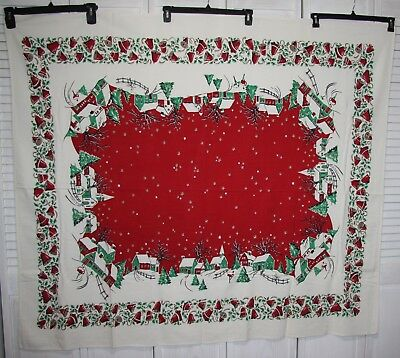Outstanding Mid Century Vtg Christmas Tablecloth Starry Night Vivid Excellent