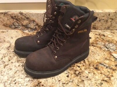 aef06ece29e BRAHMA BOOTS MENS Thinsulate Iron Tough Steel Toe Leather Ghille Work boots  Sz 9