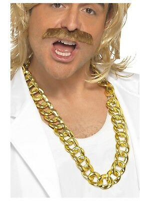 Rapper Gangster Fake Gold Chain Bling 80s Necklace Costume Accessory