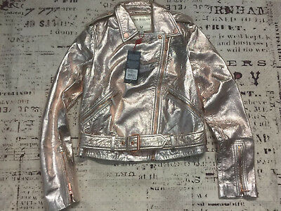 New True Religion Women Metallic Leather Moto Jacke 200140 $399 Size:XS S M