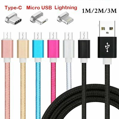 1/2/3M Metal Braided Lightning/Type-C/Micro USB Charger Cable For IOS Andriod US