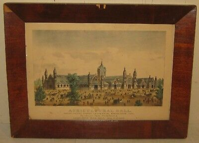Antique CURRIER & IVES Centennial Exhibition 1876 AGRICULTURAL HALL Lithograph