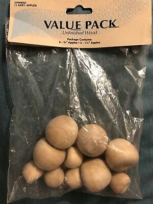 Vintage Small Solid Wood Fruit Apples Lot Of 10 Assorted Wood Same Day Shipping!