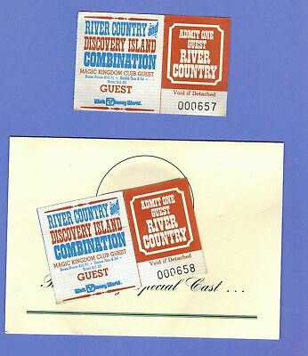 Rare Disney World Unused Tickets River Country Discovery Island 1998 Cast Member