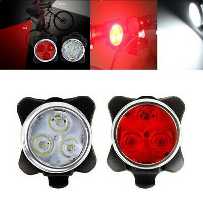A Pair 3 LED USB Rechargeable Bike Headlight Taillight Caution Bicycle Lights