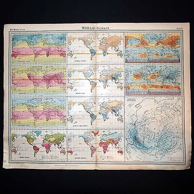 World Climate - Genuine 1922 Vintage Map by Bartholomew