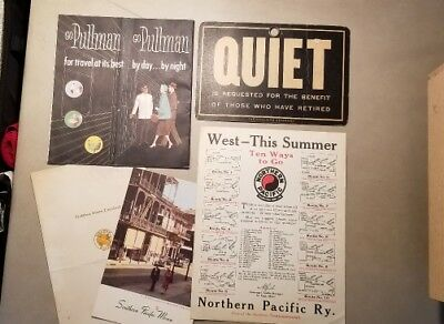 1940/50's  Railroad Sign, Menus, Booklets - Northern & Southern Pacific, Pullman
