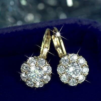 18k white yellow gold gf made with SWAROVSKI crystal earrings flower crown