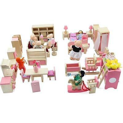 Dolls House Furniture Wooden Set People Dolls Toys For Kids Children Gift New WT