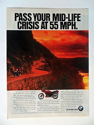 1994 Print Ad BMW K75S Motorcycle ~ Pass Your Mid-Life Crisis at 55 MPH