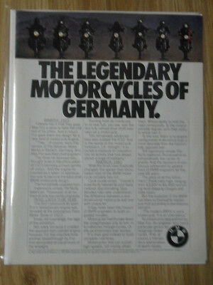 1982 Print Ad BMW Motorcycle The Legendary Motorcycles of Germany