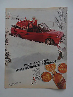 1983 Print Ad Johnnie Walker Red Label Whiskey ~ Santa Girl Red Car in Snow