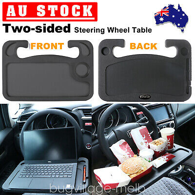 Universal Two-sided Car Steering Wheel Tray Mount Laptop Table Food Drink Holder
