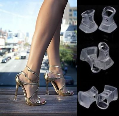 Women High Heel Stiletto Stoppers Protector Brides Wedding Heels Black/Clear New
