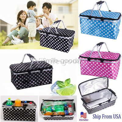Basket Lunch Picnic Food Folding Insulated Cooler Camping Bag Box #r