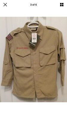 Khaki Tan Boy Scout Uniform Top Arrow Of Light Webelos Small 8 LS & 3/4 Lengths