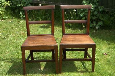 Pair Of Mahogany Chairs With Solid Seats ( Have been Dismantled , in Kit Form )