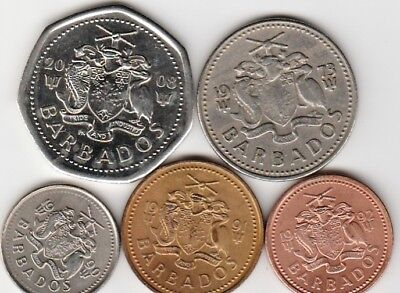 5 different world coins from BARBADOS