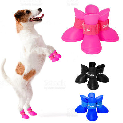 4pcs Waterproof Dog Rain Shoes Boots Anti-slip Pet Paw Protective Booties Lot