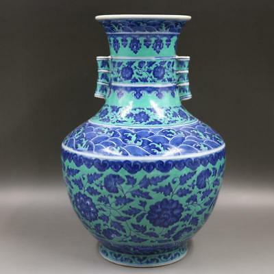 Qing Dynasty Qianlong green, blue and white lotus flower pattern vase.