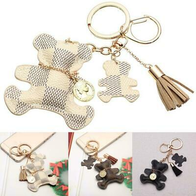 Leather Cute Bear W/ Tassel Style Purse Handbag Key Phone Chain Keyring Gifts FZ
