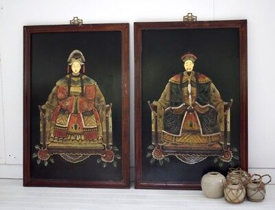Very Large Vintage Chinese Carved Soap Stone Panels Emperor and Empress Framed